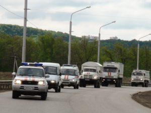Колонна автомобильной ОГ Главного управления на ППУ совершает марш в район ЧС